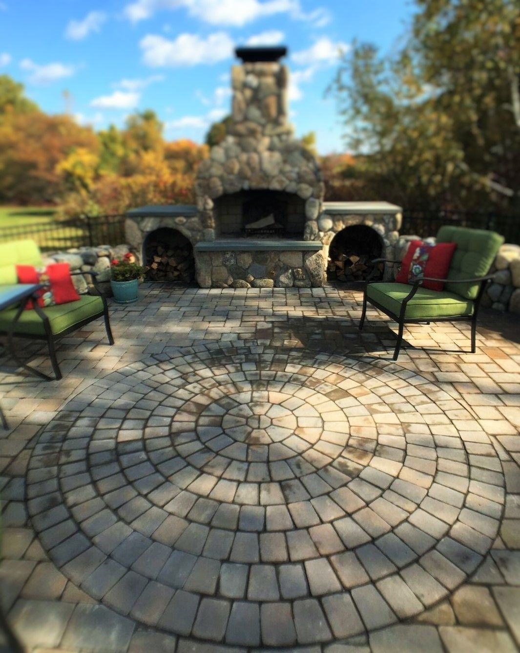 another view of this amazing elevated patio with outdoor fireplace