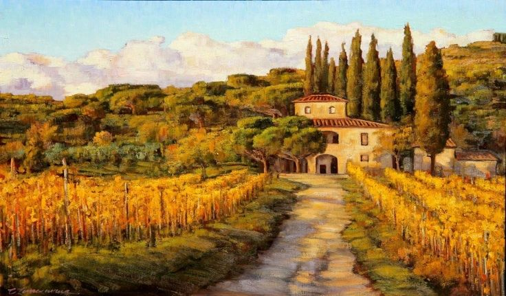 Tuscany Vineyard Painting Life Is Beautiful Pinterest