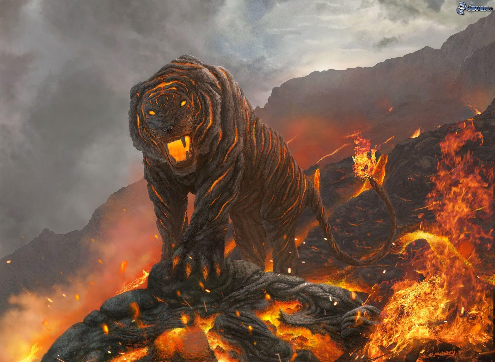 Tiger Feuer Lava 2000 X 1463 Px Zeichentrickdigital Art