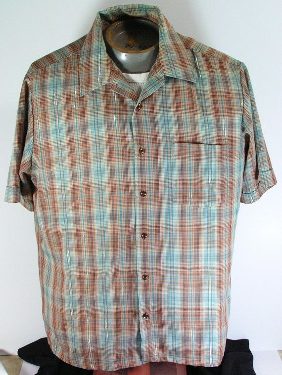 vintage 1970s shirt mens L large shimmering plaid by moivintage, $14.99