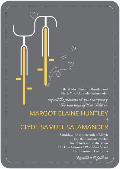 Yellow Grey Spring Wedding Invitations