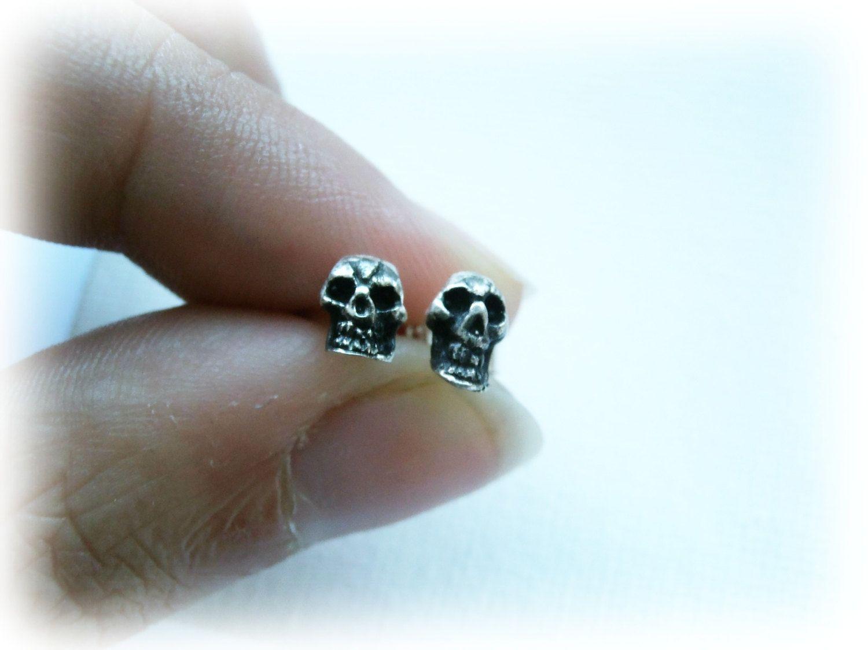 Mens Silver Stud Earrings Skull Gothic For Guys 925 Sterling Tiny