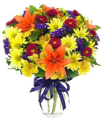 • Yellow Daisies  • Red Lilies  • Yellow Alstroemeria  • Statice & Aster