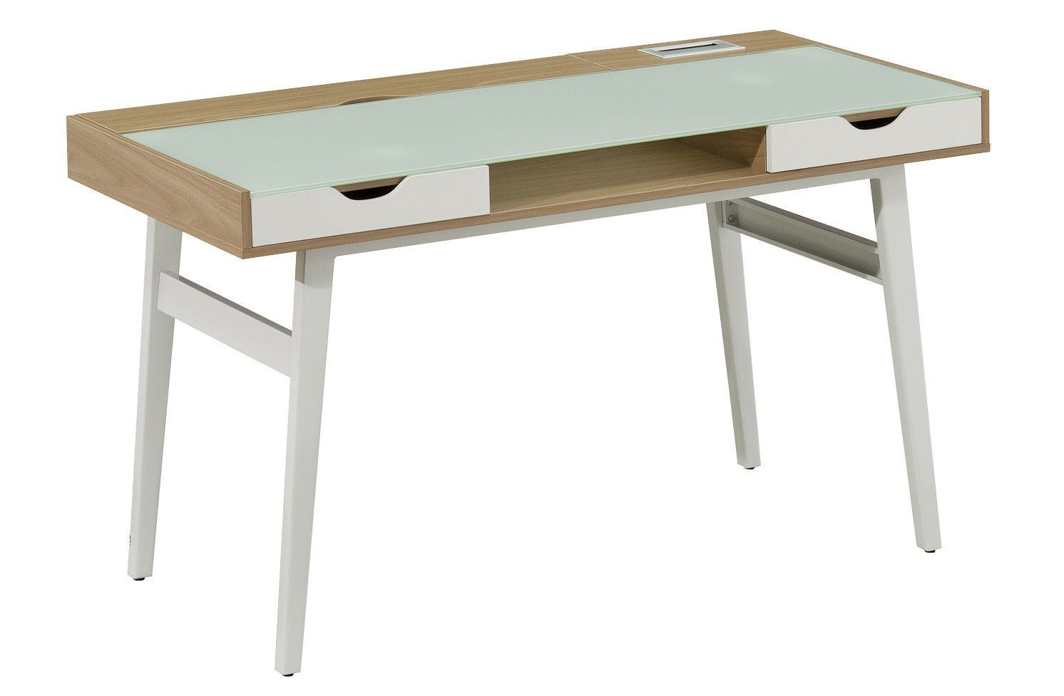 Office Desk with 2 Storage Drawers & Tempered Glass Top