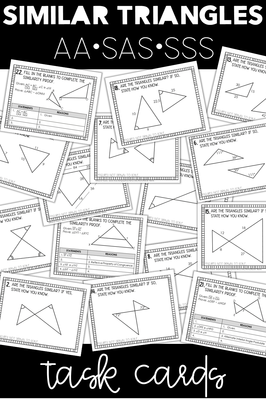 Similar Triangles Shortcuts Task Cards Similar Triangles Teaching Geometry Geometry Worksheets [ 1440 x 960 Pixel ]