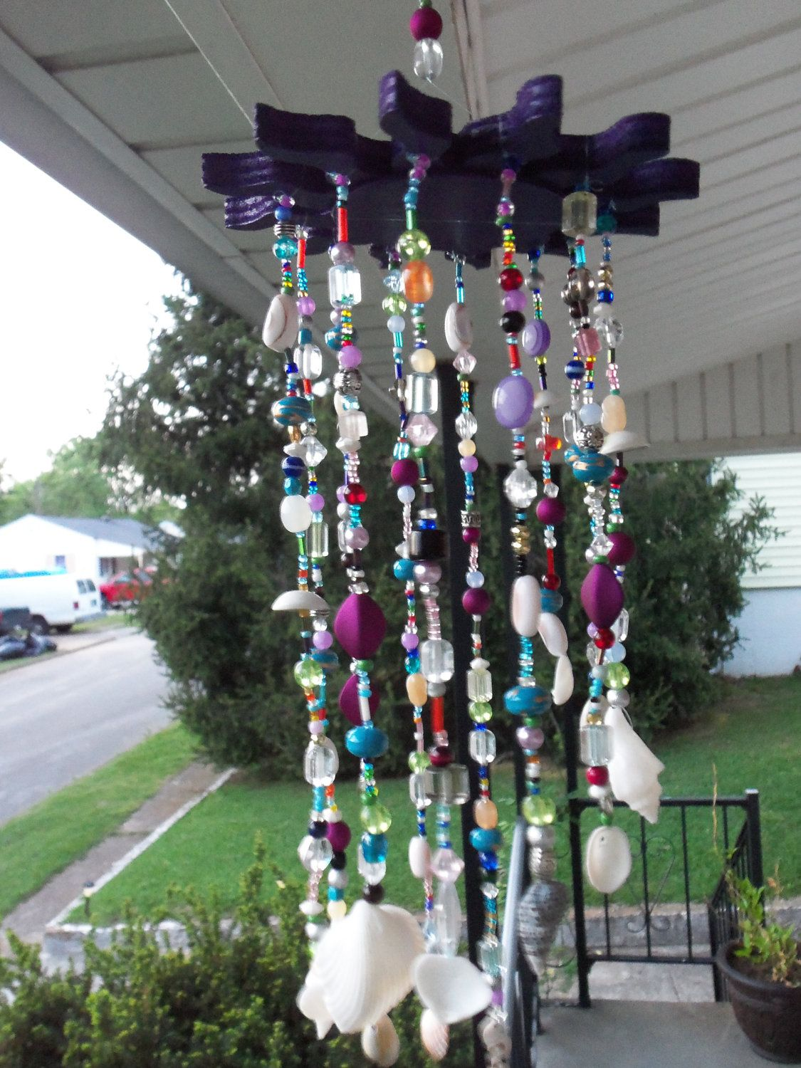 Bohemian gypsy beaded seashell wind chime with purple sun for Wind chimes homemade crafts