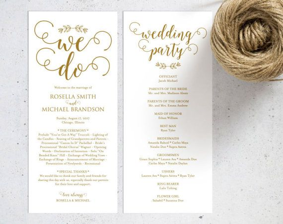 Gold Wedding Program Template Wedding Ceremony Program Printable