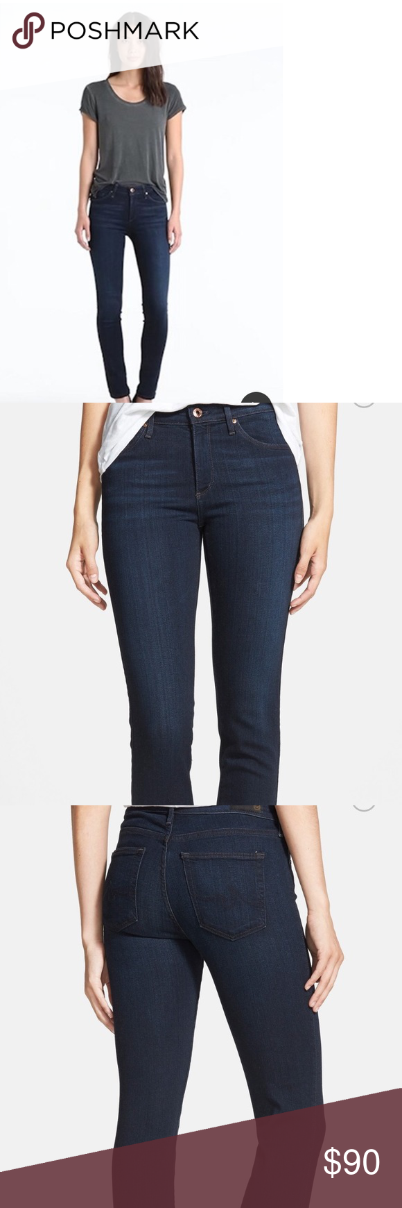 AG prima mid-rise cigarette jeans.  28R Versatile dark-wash jeans with minimal fading and classic details are perfectly slim and trim. Super comfortable! Feels like a legging AG Adriano Goldschmied Jeans Straight Leg