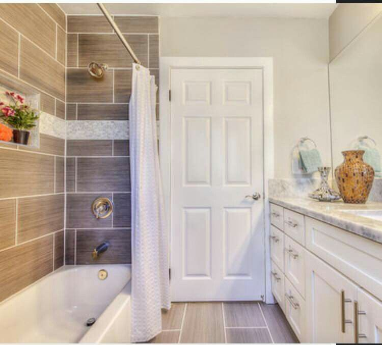 From Hgtv S Flip Or Flop Love The Large Tile In The Shower Bathrooms Remodel House Bathroom Makeover