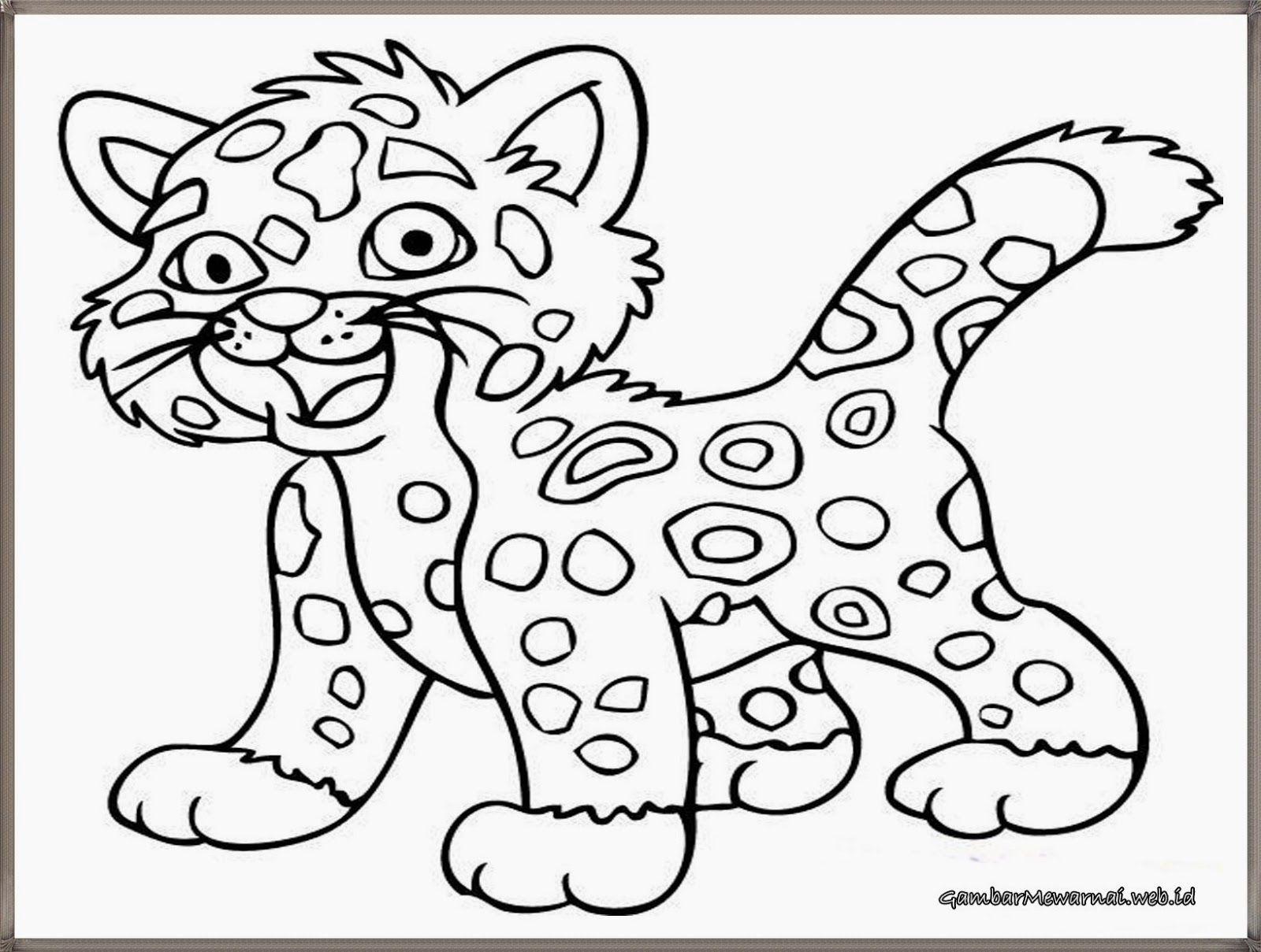 Gambar Mewarnai Anak Harimau Lucu Gambar Mewarnai Pinterest