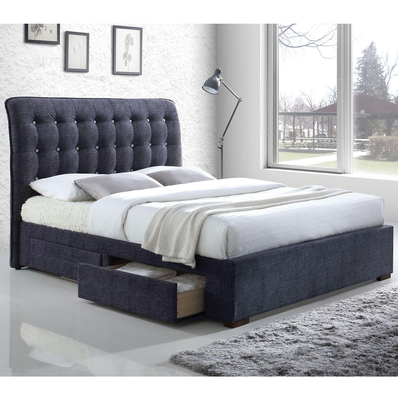 Acme Furniture 25680q Drorit Storage Queen Bed Dark Gray Fabric In