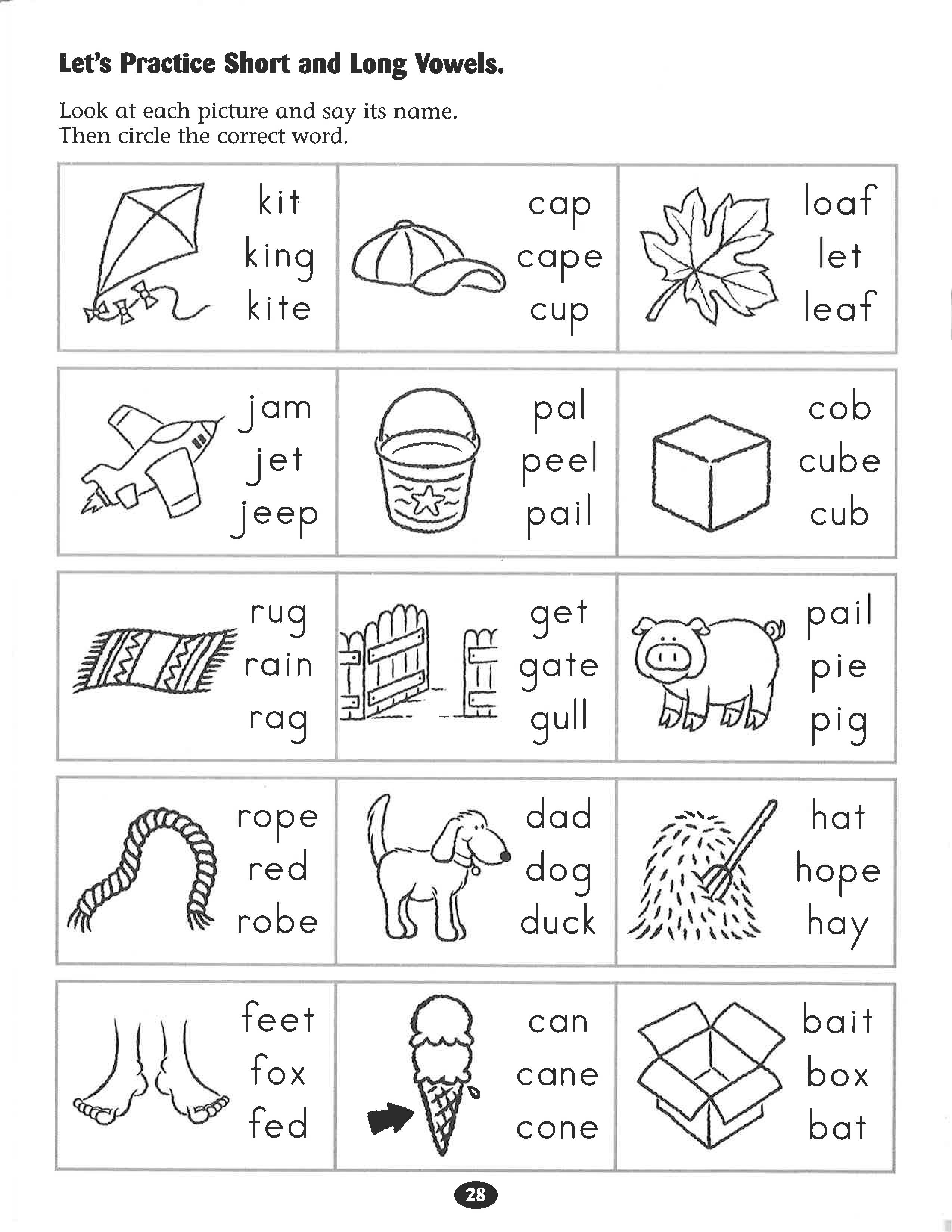 Let S Practice Short And Long Vowels Worksheet Vowel Worksheets Kindergarten Phonics Worksheets Phonics Worksheets [ 3300 x 2550 Pixel ]