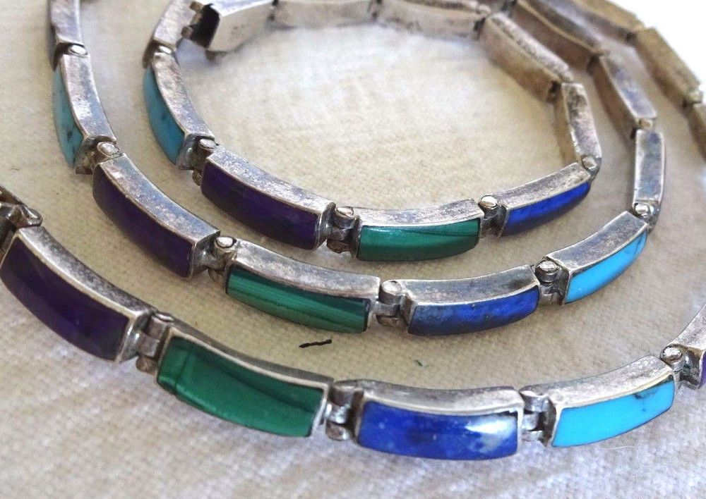 Vintage 1930s to 40s MEXICO 980 Sterling Silver MULTI-STONE Articulated NECKLACE