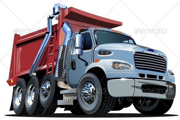Vector Cartoon Dump Truck Graphicriver Vector Cartoon Dump Truck