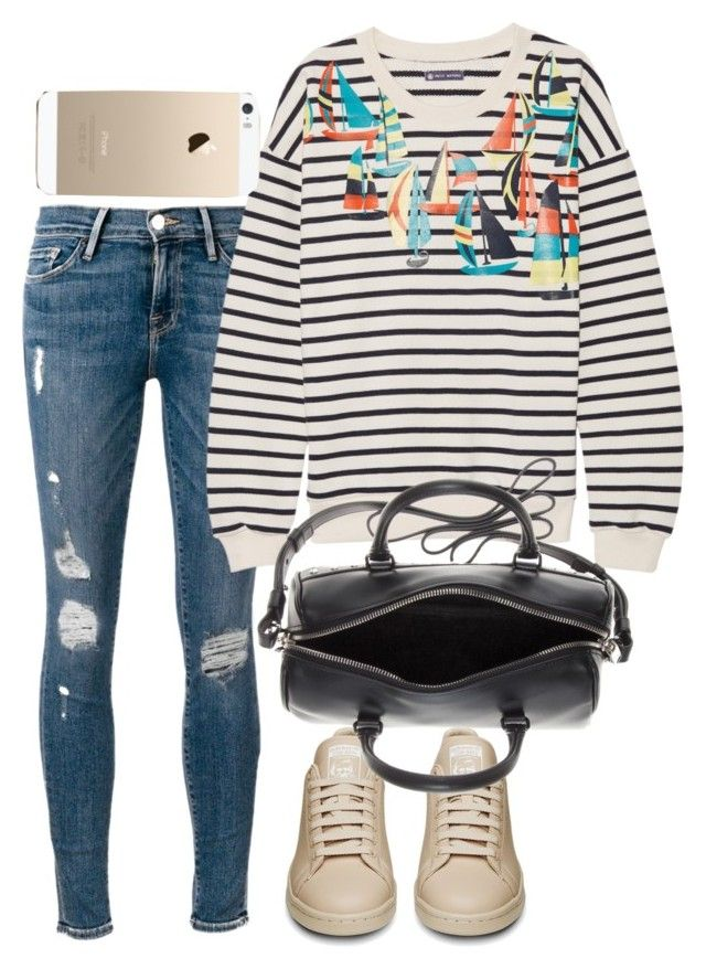 """""""Untitled #3088"""" by bubbles-wardrobe ❤ liked on Polyvore featuring Frame Denim, Petit Bateau and Yves Saint Laurent"""