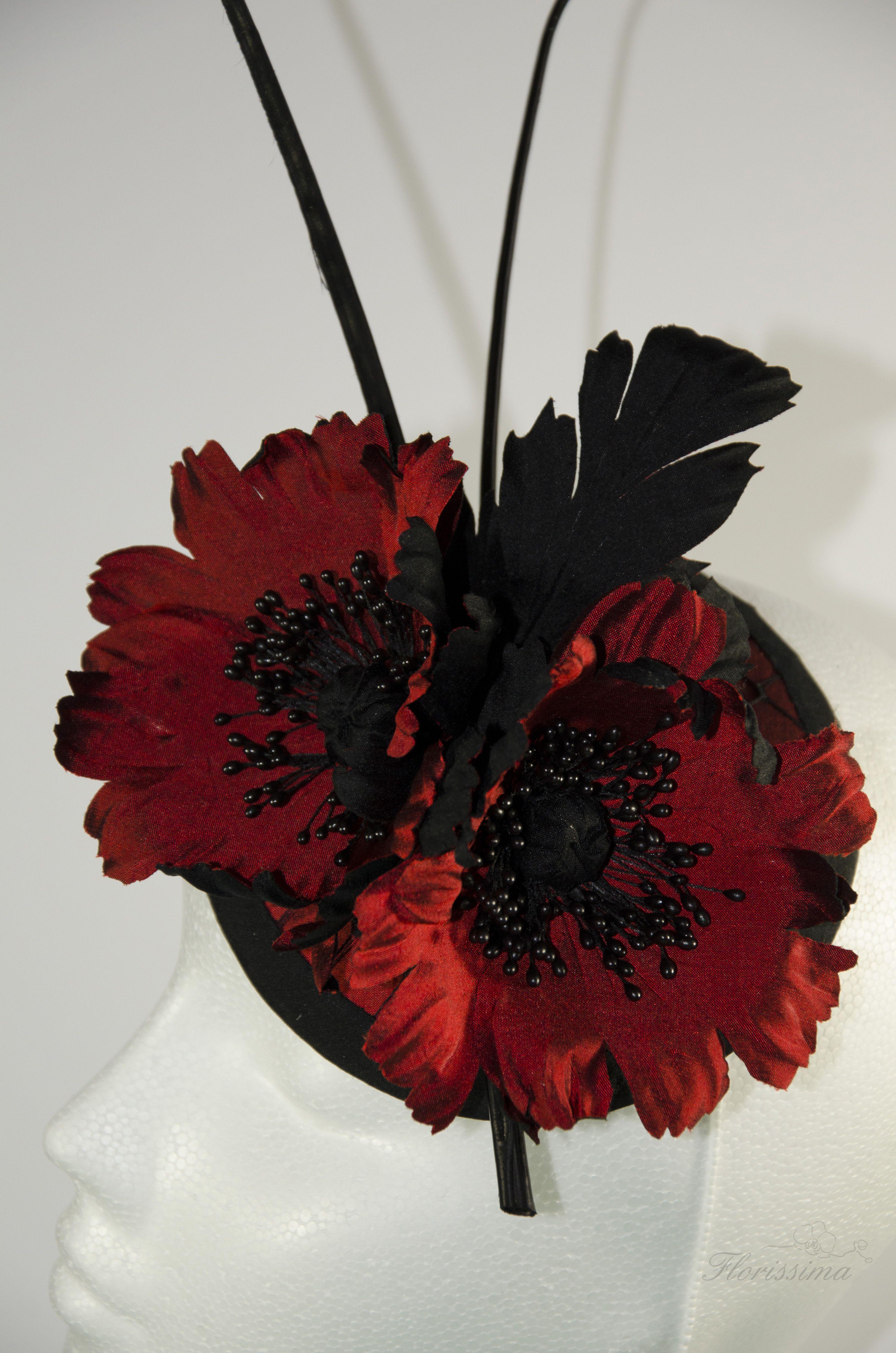 Fascinator Poppy Silk Flower Black Red