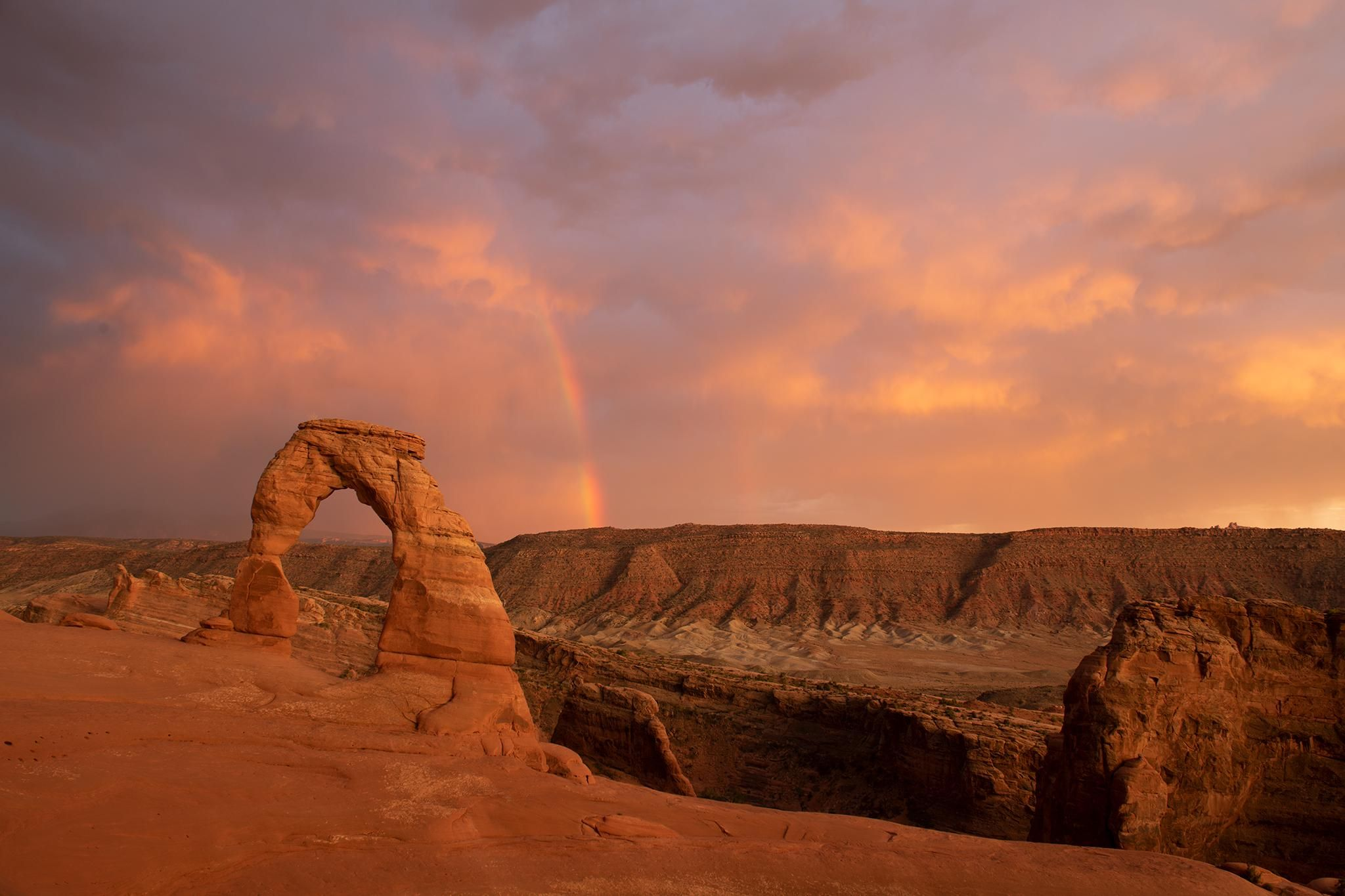 Boy Do I Love This Place I Was Totally In Awe By These Rainbows Over Delicate Arch All Captured In A Completely National Parks Long Shot Arches National Park