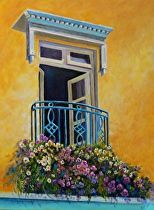 Upstairs Veranda by Nancy Thyre Oil ~ 24 x 18