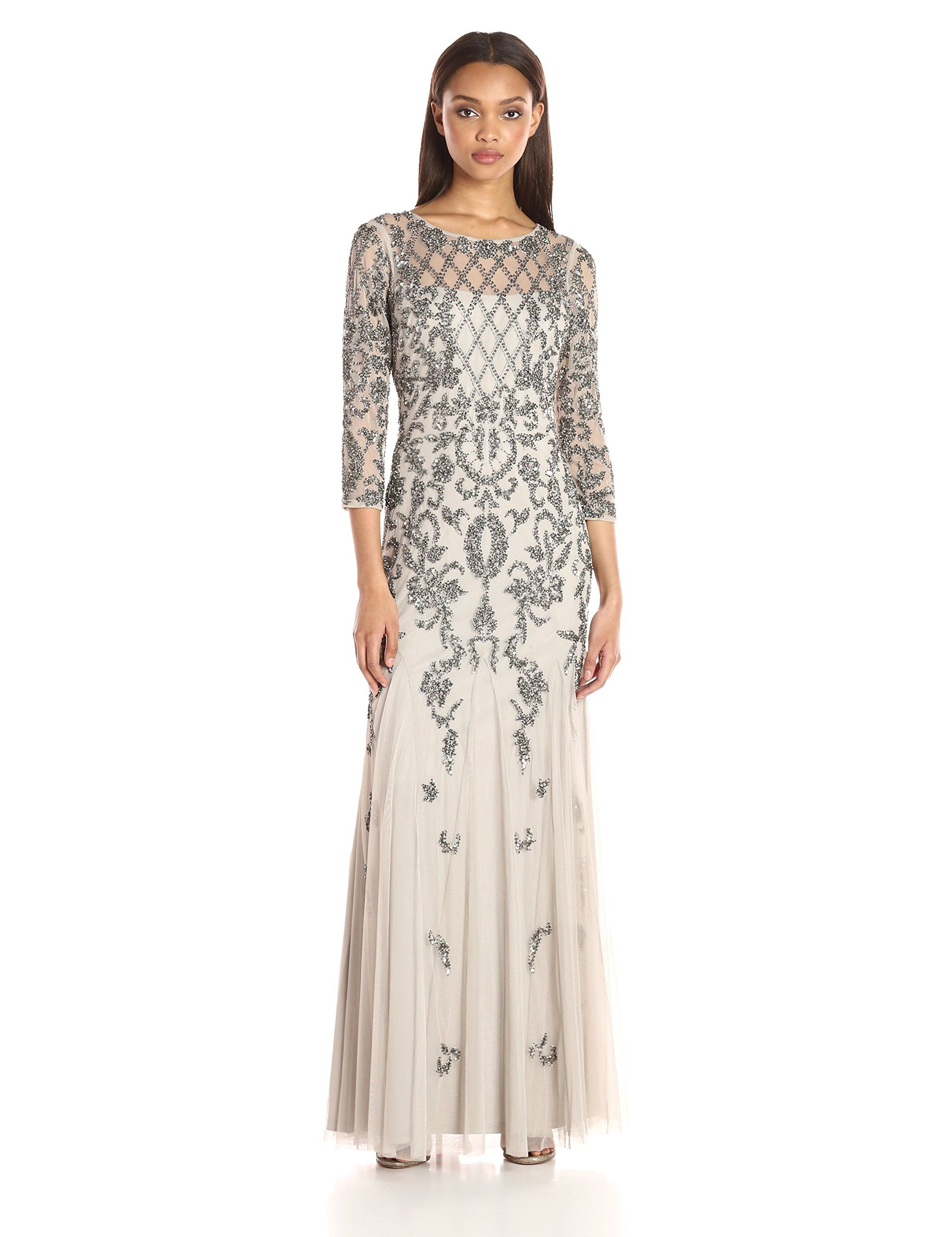 Adrianna papell womenus long sleeve beaded gown silver