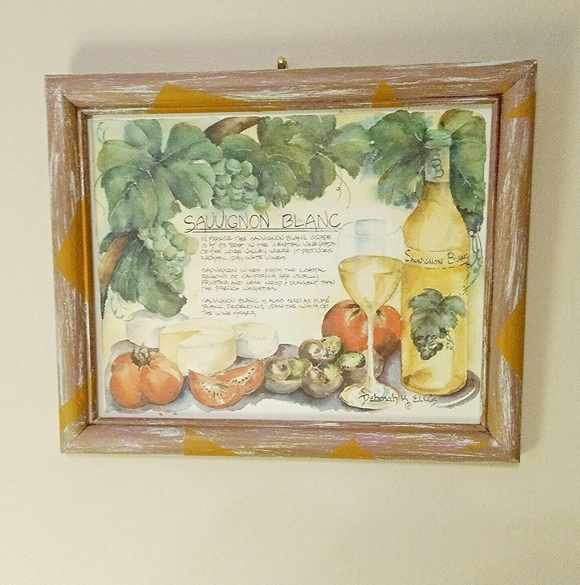 Wood picture frame hanging picture frame sauvignon blanc picture this large wooden picture frame has been hand painted in pink with orange geometric shapes the sauvignon blanc artwork was done by deborah ellis and comes jeuxipadfo Image collections