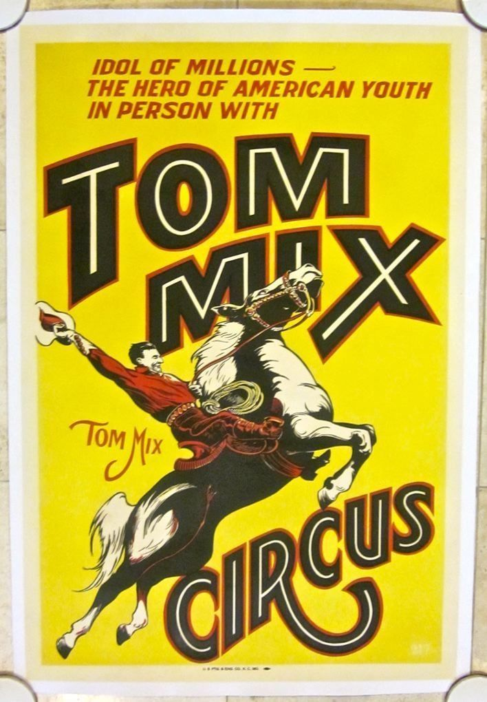 Tom Mix Circus Poster Vintage Linen Backed Circa 1935