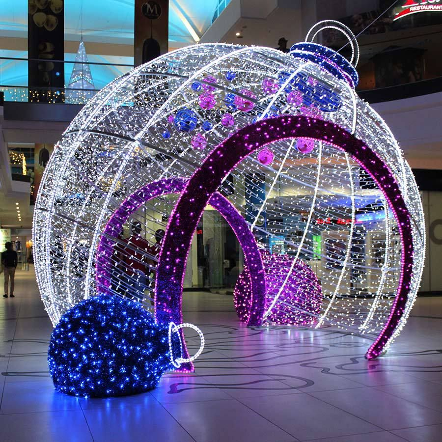 outdoor decorative big led light christmas balls