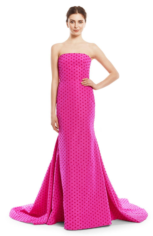 Flocked Dot Silk Faille Strapless Gown - Lela Rose | black tie ...