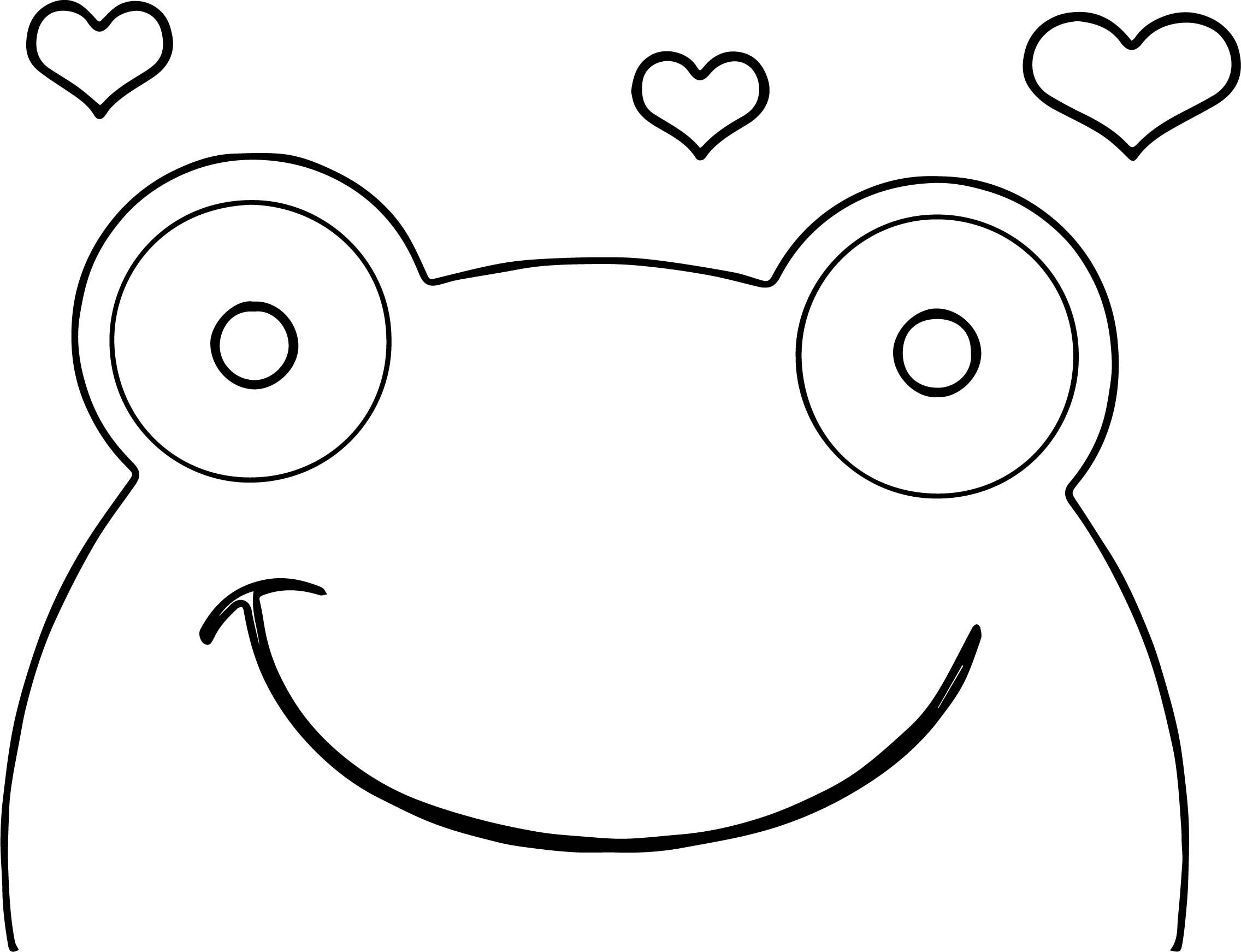 awesome Frog Face Heart Coloring Page Heart coloring