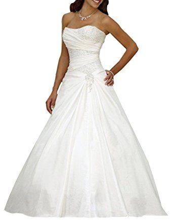 Erosebridal Neu Elfenbein Satin Brautkleid Hochzeitskleid Ballkleid ...