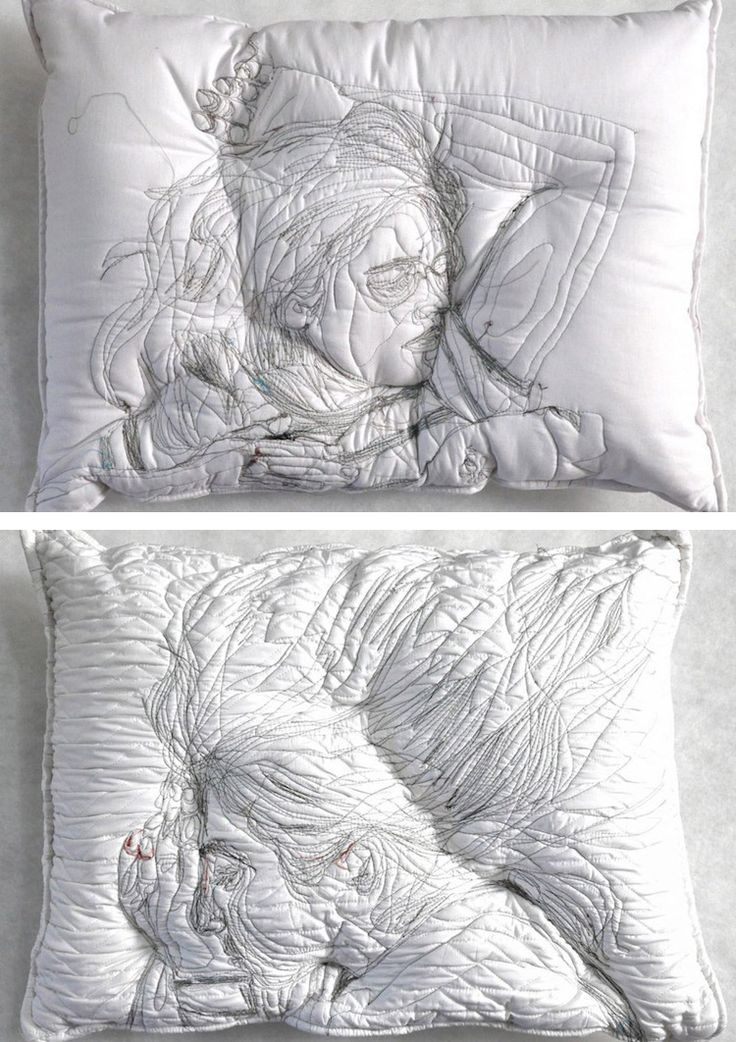 Handmade Pillows Embroidered with Silhouettes of People Sleeping