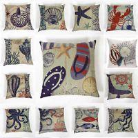 Ocean Beach Style Sea Animal Cotton Linen Pillowcases Sofa Pillow Cushion Covers