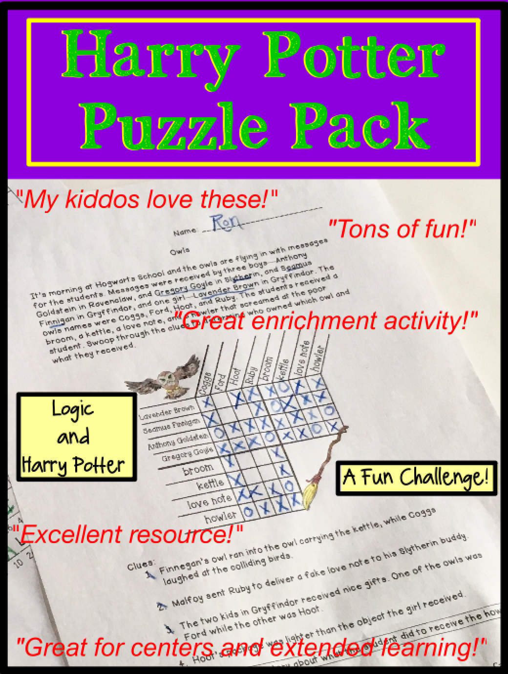 Printable Harry Potter Logic Puzzle Worksheets For Kids Will Provide Hard Critical Thinking Challenges With An Logic Puzzles Learning Math Whole Brain Teaching