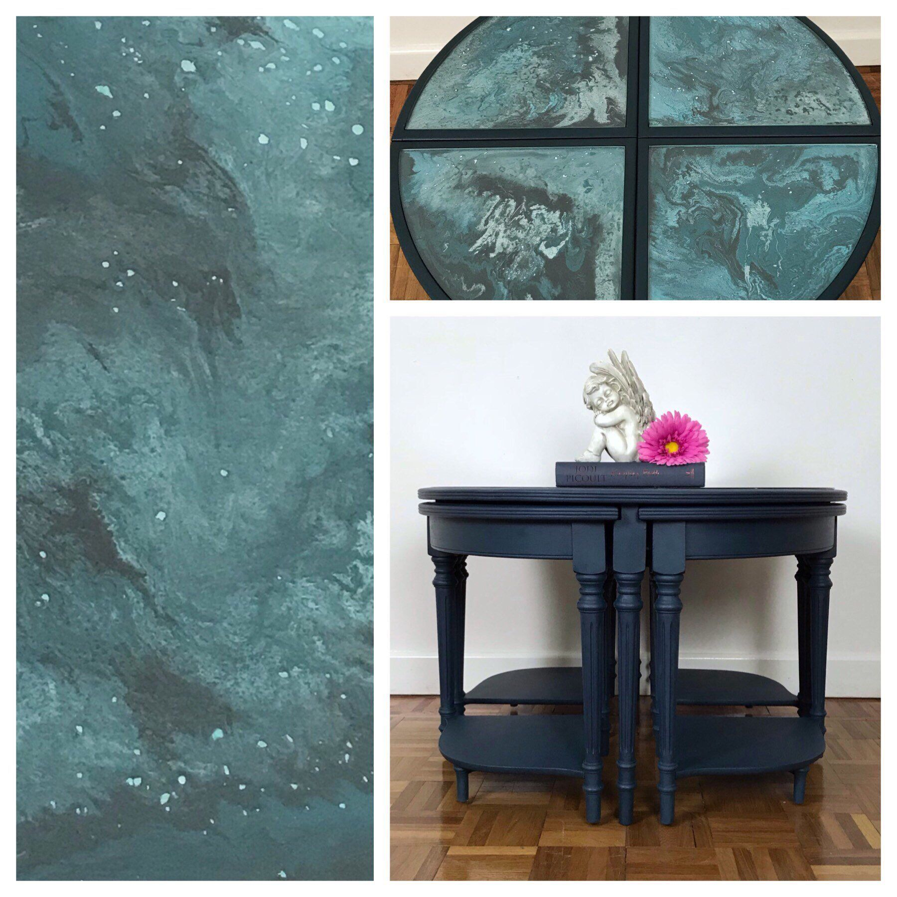 Navy Blue Round Coffee Table With Nest Dark Blue Nest Of Tables