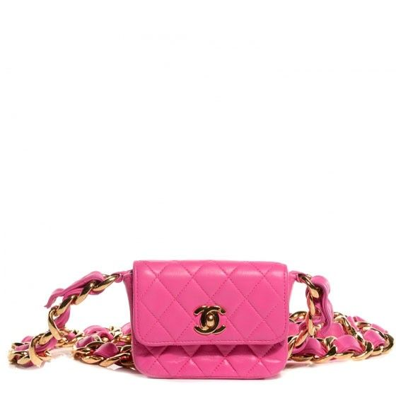 5d616bd66916ab This is an authentic CHANEL Vintage Leather Quilted Micro Mini Flap in Hot  Pink. The