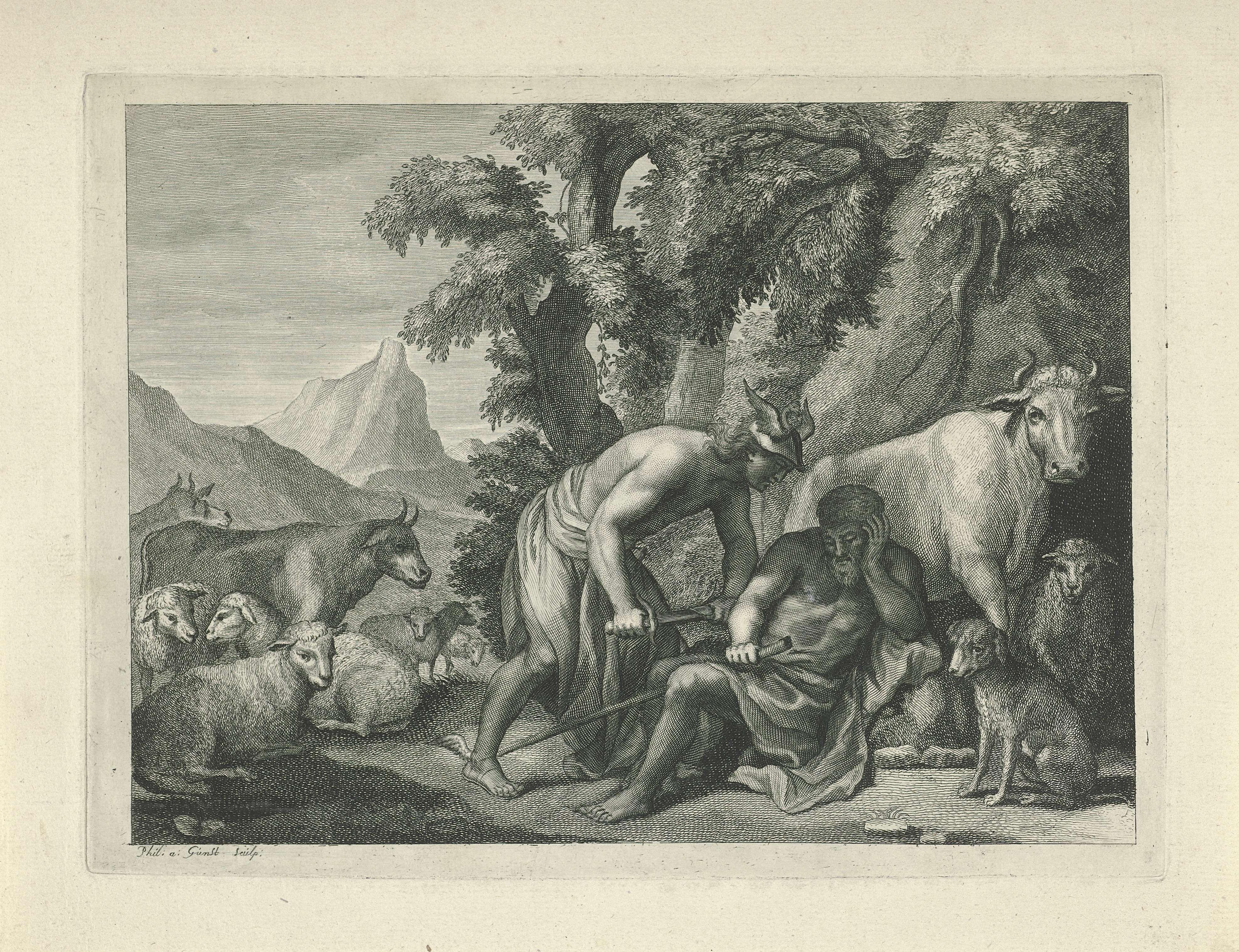 Philip van Gunst | Mercurius doodt Argus in zijn slaap, Philip van Gunst, 1685 - 1732 | De reus Argus is door het muziekspel van Mercurius in slaap gevallen. Mercurius nadert hem met getrokken dolk. Achter Argus de witte koe Io.