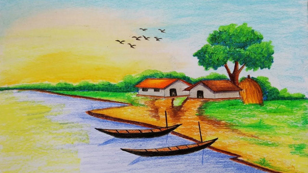 How to draw village scenery step by step easy draw for Fish scenery drawing