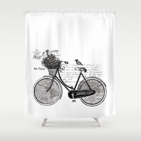 Bicycle shower curtain world tour france white bike map bicycle shower curtain world map french unique antique look map travel inspired home decor gray and black bathroom gumiabroncs Gallery