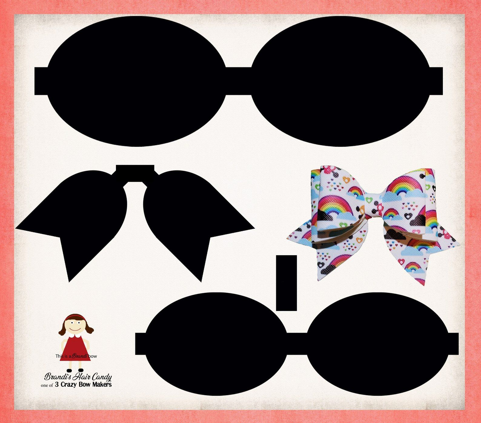Stacked Cheer Style Faux Leather Bow Template SVG, DXF