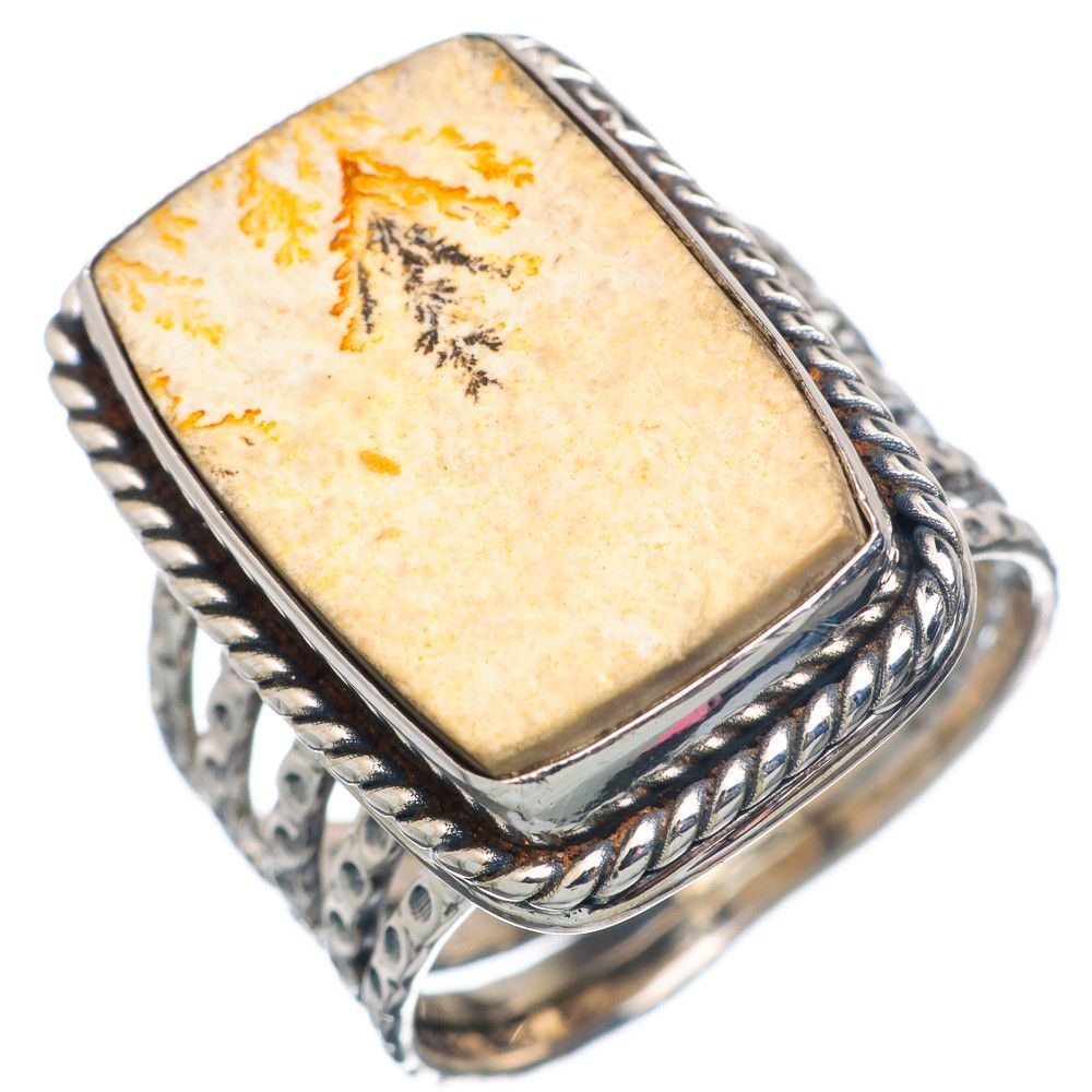Germany Psilomelane Dendrite 925 Sterling Silver Ring Size 8 RING685401