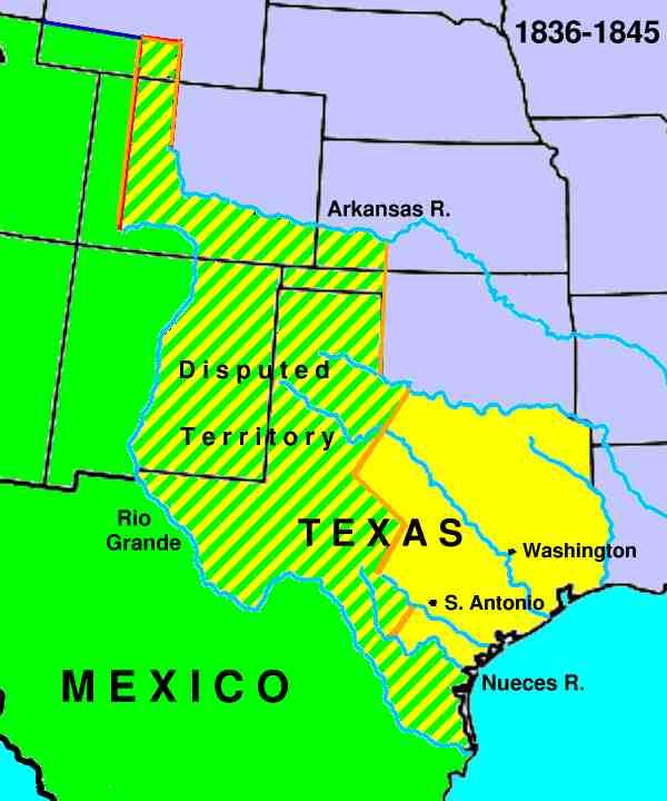 Map Republic Texas History Of The 18361846: Texas And Mexico War Map At Usa Maps