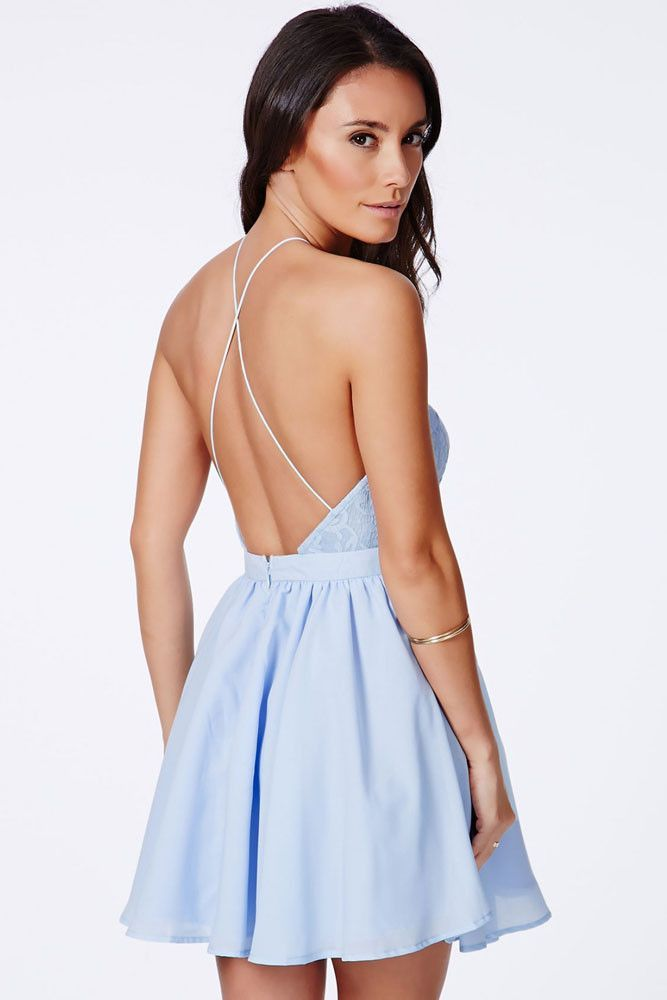 ed74cf75f14 Chic Cross Back Lace Backless Design Party Baby Blue Dress ...