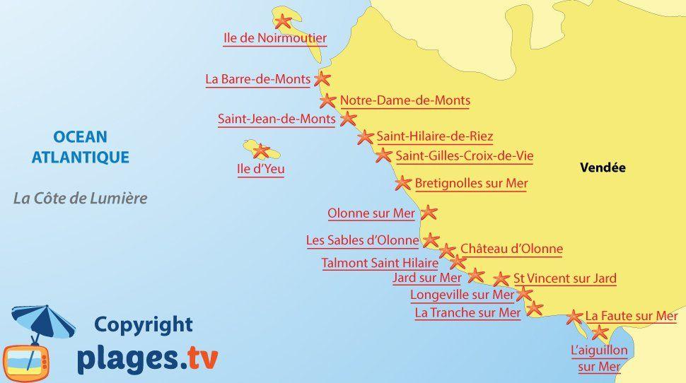 Carte Des Stations Balneaires Et Des Plages De La Cote De Lumiere