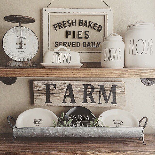 Farmhouse Style Shelf And Signs