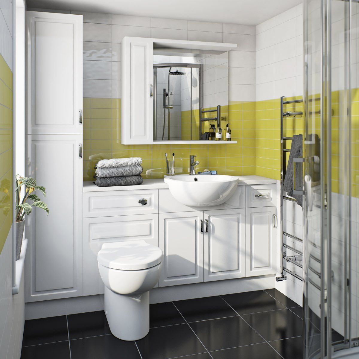 orchard florence straight ensuite storage unit pack with white top | fitted bathroom furniture