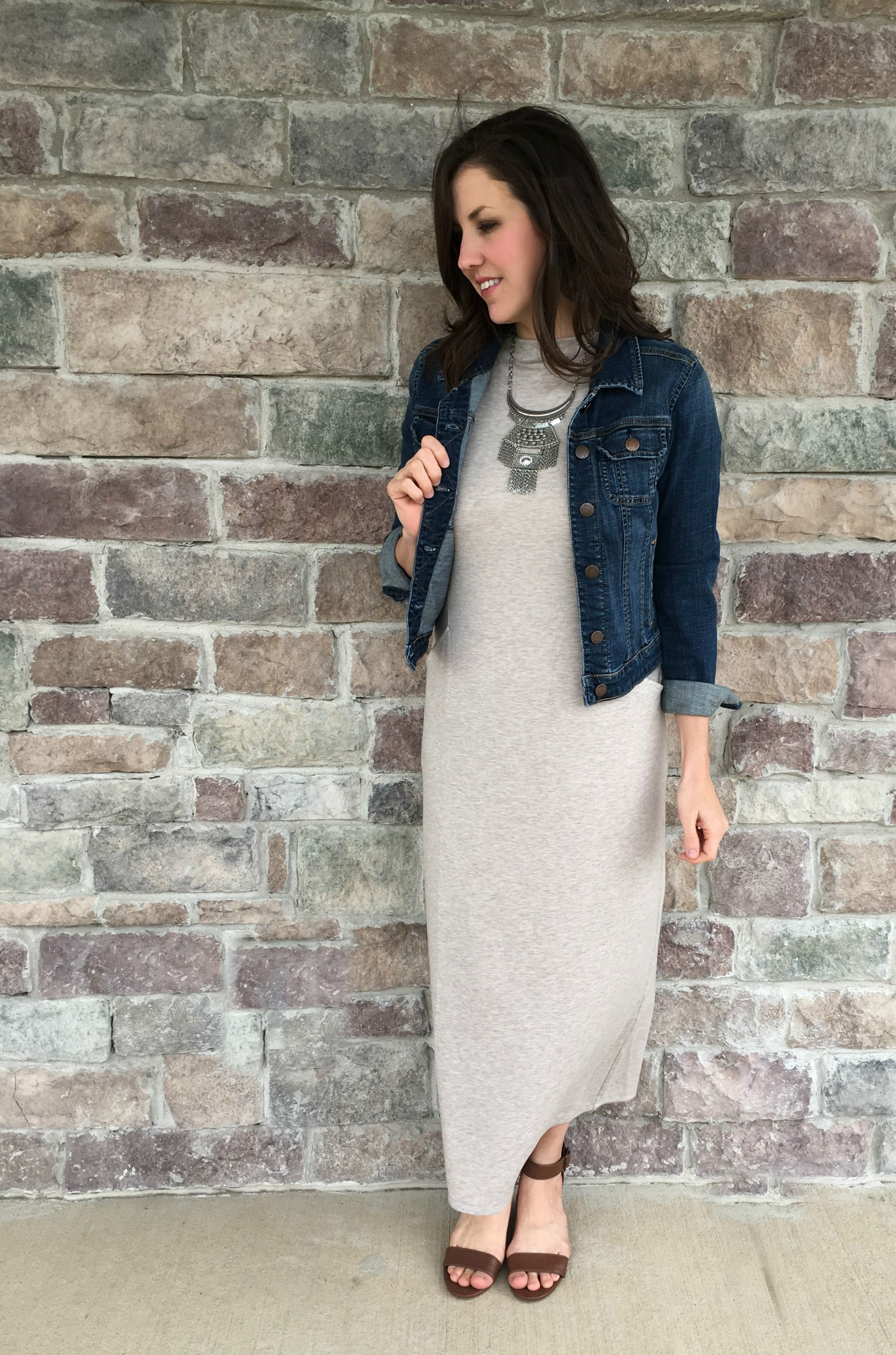 ffd2dbf0dca2 Andrea from @mommainflipflop layers a denim jacket over her Pure Jill luxe  tencel mock-neck maxi dress.