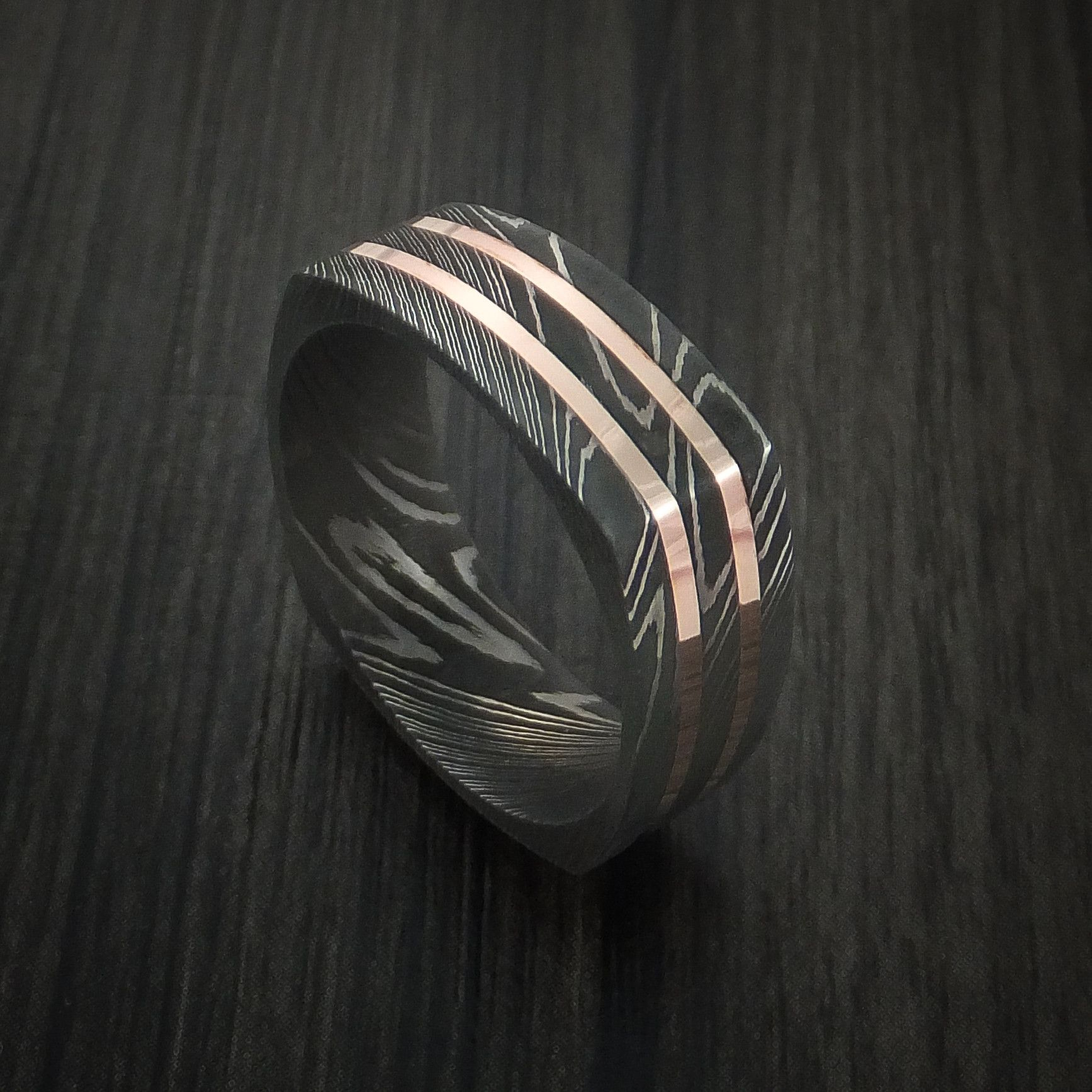 damascus steel wedding bands Squared Damascus Steel Ring with 14k Rose Gold Inlays Custom Made Band