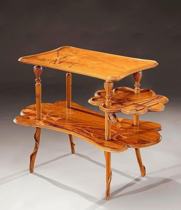 Emile Gallé (1846-1904), Nancy, Mahogany Table with Fruit Wood Inlays.