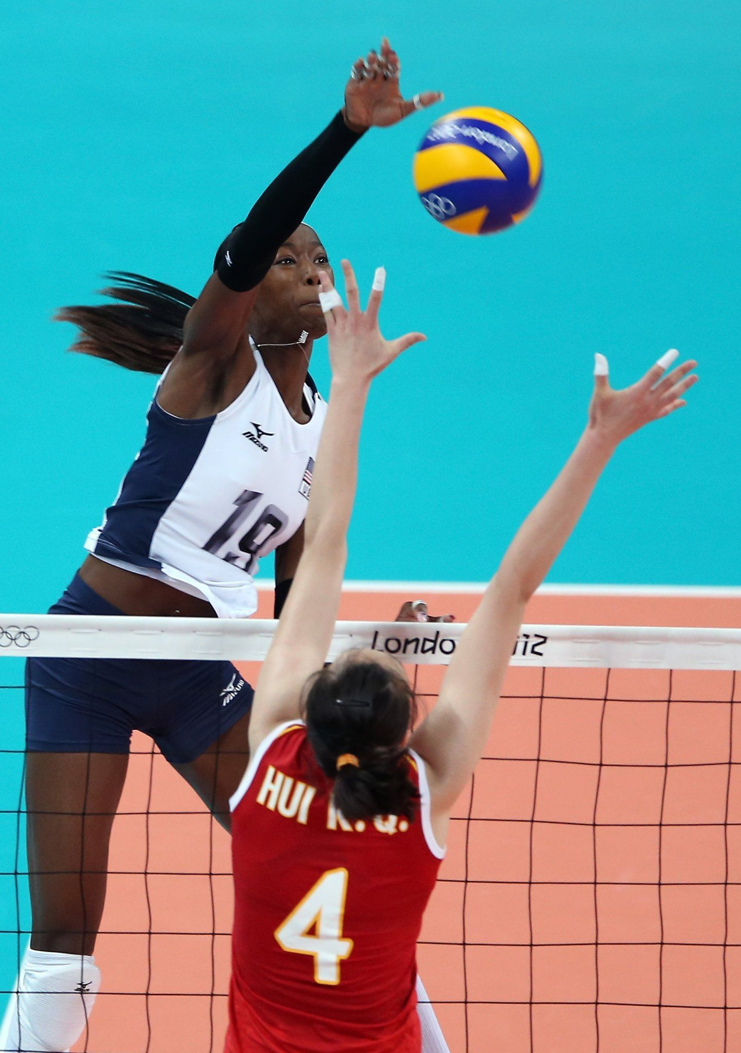 Destinee Hooker continued her onslaught on the US Olympic volleyball tournament. (1441×2048)