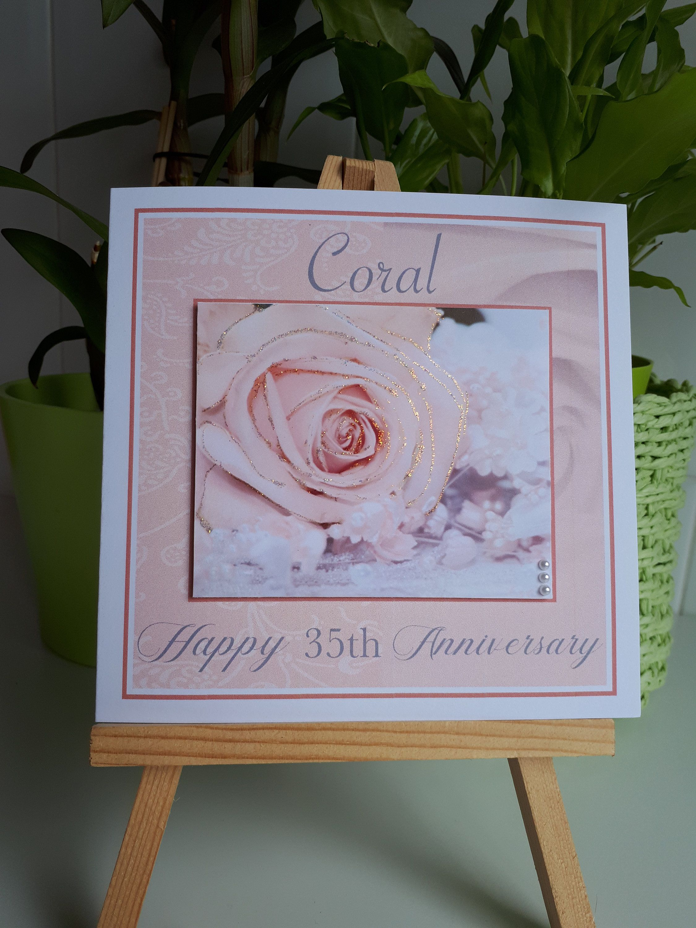 35th Anniversary Card Coral Wedding Card Handmade 35 Year Etsy Anniversary Cards For Husband Anniversary Cards Anniversary Cards Handmade