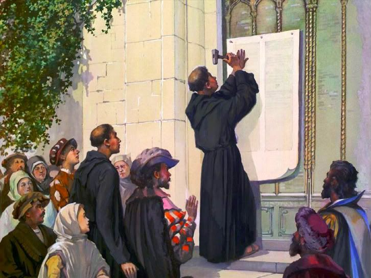 Image result for picture of Martin Luther nailing Theses to door in Wittenberg